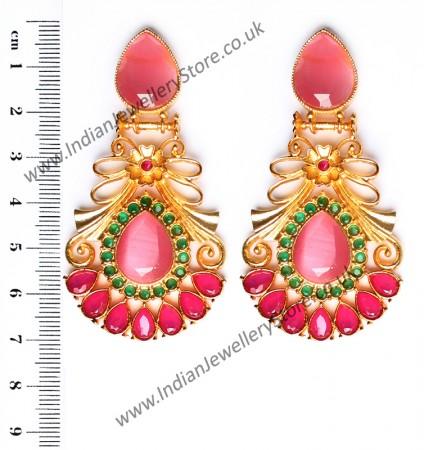 Large Matt Gold Earrings - Rangeela EEPA10386