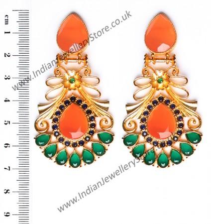 Large Matt Gold Earrings - Rangeela EEOA10388