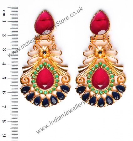 Large Matt Gold Earrings - Rangeela EEMA10392