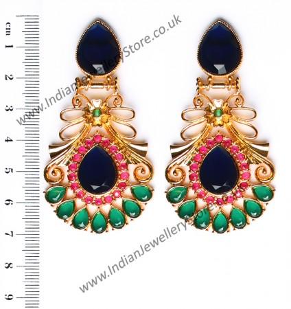 Large Matt Gold Earrings - Rangeela EEPA10394