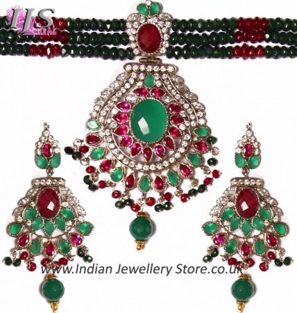Indian Large Beaded Choker Set NSMA04111