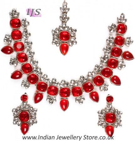 Contemporatry Kundan Necklace Set- Aslesha NSRK10669C