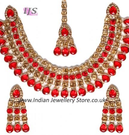 Champagne Flexible Collar Necklace Set - PARI NCLC10031C