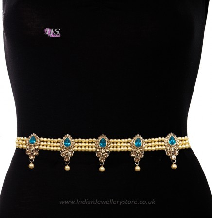 Champagne Pearl, Antique Saree Belt - turquoise (firozi) blue LALL11391