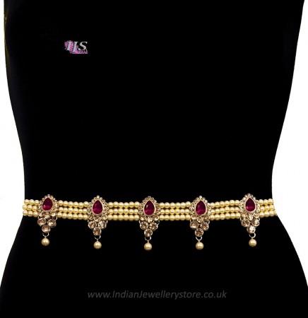Champagne Pearl, Antique Saree Belt - maroon red LARL11393