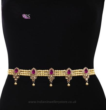 Champagne Pearl, Antique Saree Belt - fuchsia pink LAPL11395