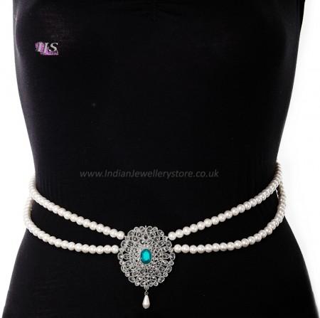 Silver Pearl & American Diamond Saree Belt - turquoise (firozi) blue LSLL11368