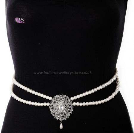 Silver Pearl & American Diamond Saree Belt - white LSWL11375