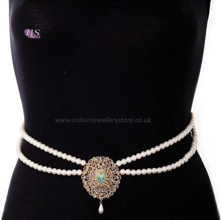 Pearl Drape & American Diamond, Gold Saree Belt - mint green LEGL11381