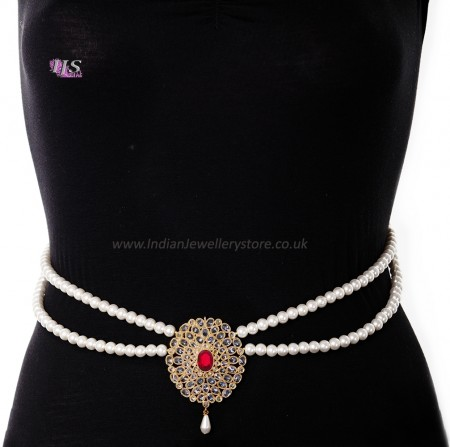 Pearl Drape & American Diamond, Gold Saree Belt - bright red LERL11385