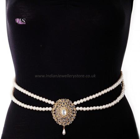 Pearl Drape & American Diamond, Gold Saree Belt - yellow LEYL11384