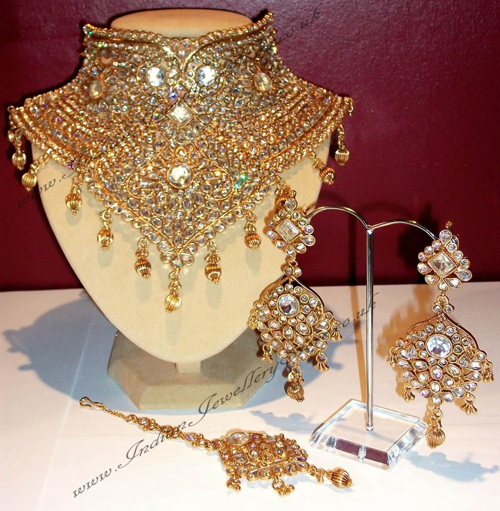 Apara Bridal Pearl Lct Stones Gold Necklace Set Jewellery: American Diamond Bridal Set