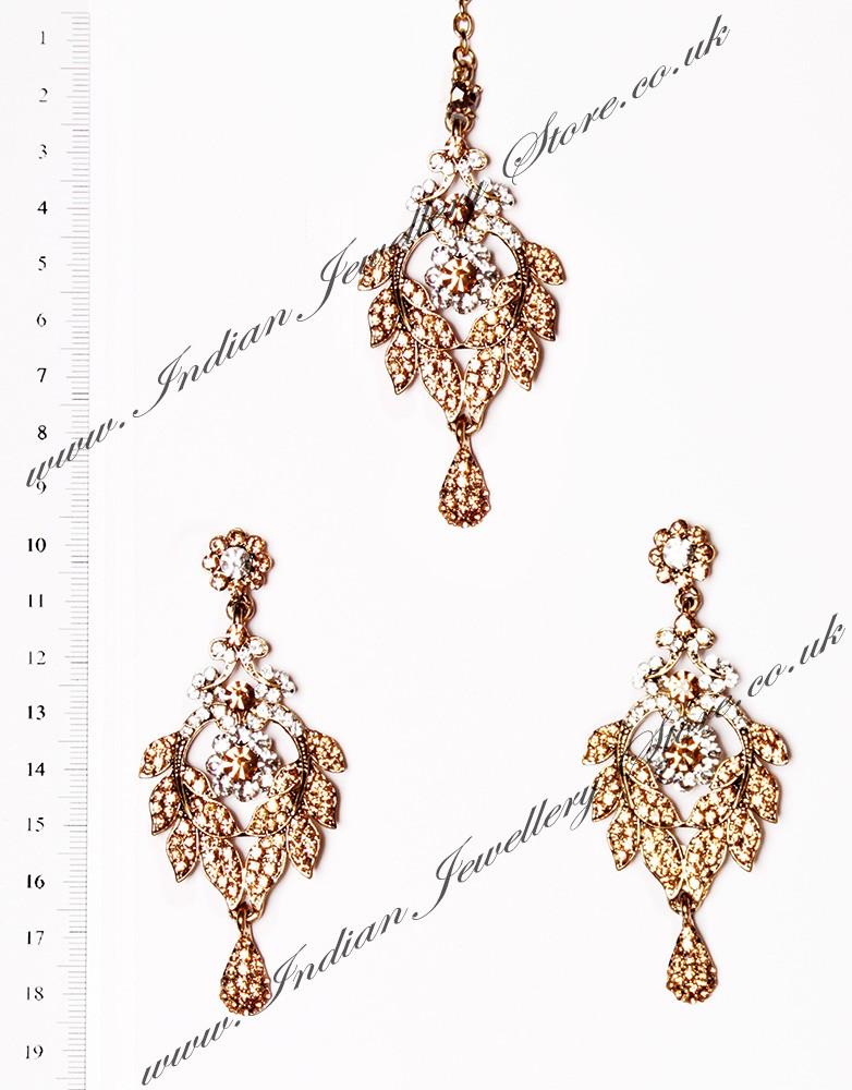 Crystal Earrings And Wider Tikka Yashi Indian