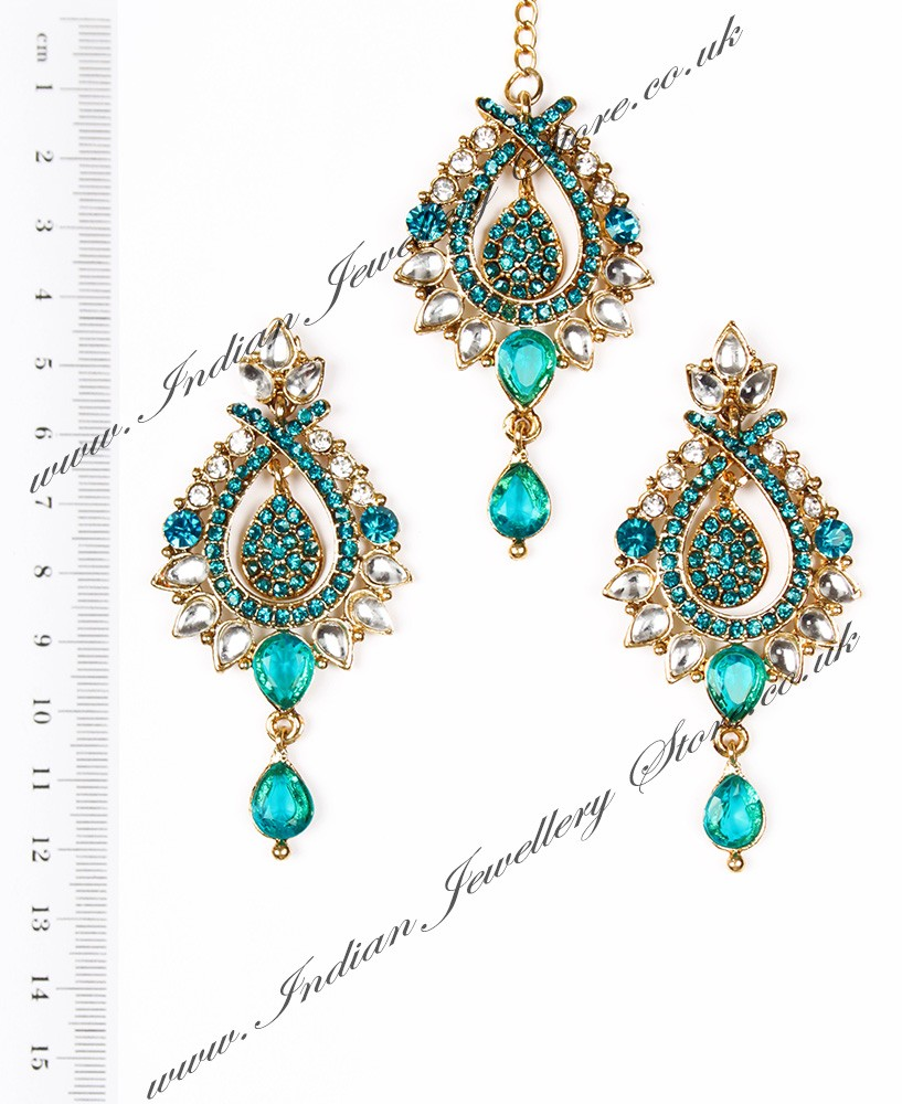 Light Gold Earrings Amp Tikka Set Kia Indian Jewellery
