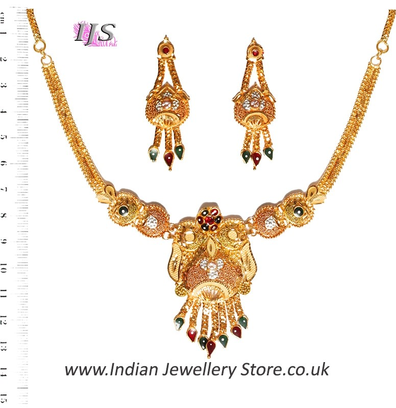 Apara Bridal Pearl Lct Stones Gold Necklace Set Jewellery: Buy 22k Effect Indian Necklace Set NGMP04695