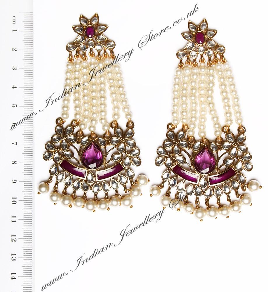 Buy Large Mughal Princess Kundan Earrings Eauk04410c