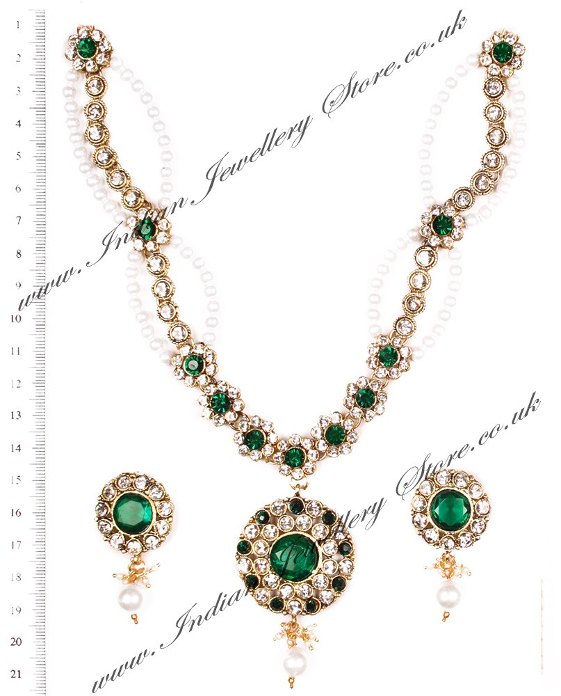 Apara Bridal Pearl Lct Stones Gold Necklace Set Jewellery: Delicate Pearl Necklace - Adrika
