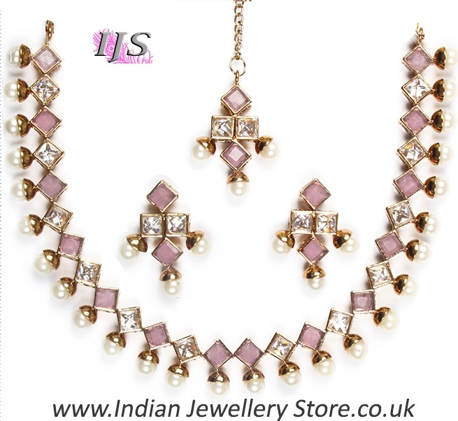 Apara Bridal Pearl Lct Stones Gold Necklace Set Jewellery: Buy Printi Delicate Pearl Necklace NACA10218C