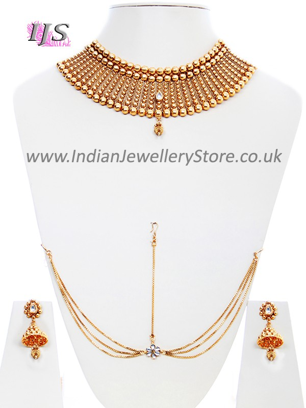 Large 22k Effect Designer Necklace Set Indian Jewellery Store Uk Usa
