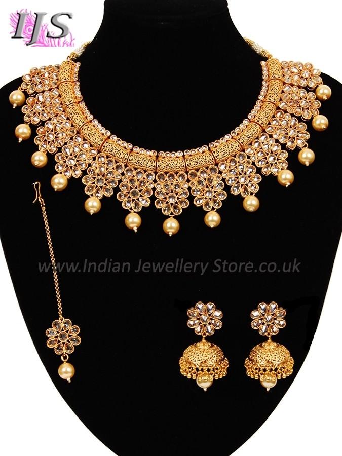 Golden Champagne Diamond Flower Collar Necklace Set Indian