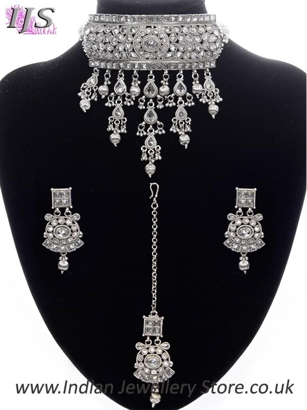 Silver Indian Jewellery Set Kashmiri American Diamond