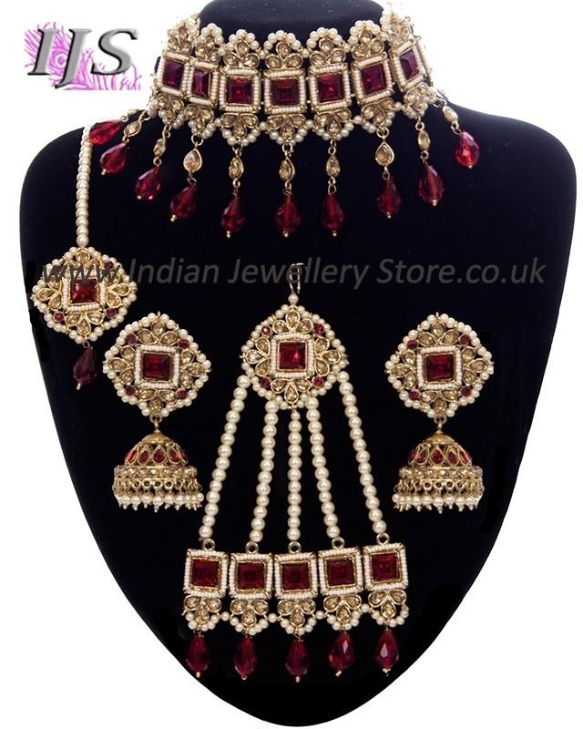 Regal Pakistani Jewellery Set Choker Jhumki Tikka Jhumar
