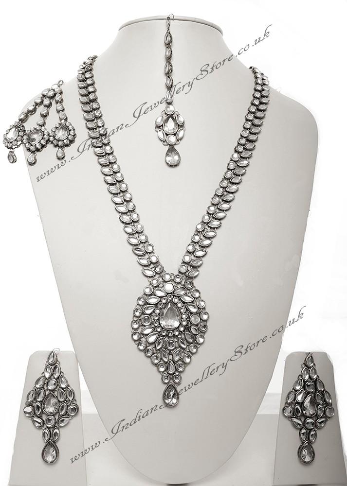 Buy Silver Jhumar Amp Rani Haar Set Rona Nswk10540c