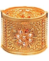 Champagne & Gold Indian Cuff Bangle 2.6 WENA11099 Indian Jewellery
