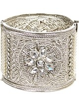 Silver Indian Cuff Bangle 2.8 WSWA11103 Indian Jewellery