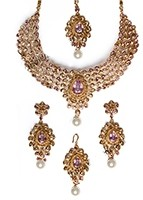 Lilac & Antique Indian Jewellery Set