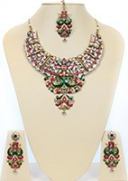 Large Kundan Peacock Necklace Set BACC10476C Indian Jewellery
