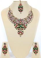 Large Kundan Peacock Necklace Set BACC10476C Indian Jewellery