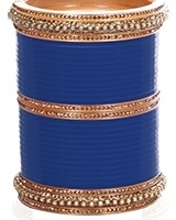 Royal Blue Indian Wedding Chura & Champagne Crystal Bangles 2.6 UALC11577 Indian Jewellery