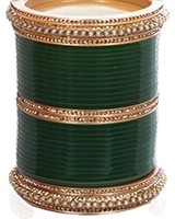 Bottle Green Pakistani Wedding Chura & Champagne Crystal Bangles 2.6 UAGC11583 Indian Jewellery