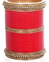 Bright Red Asian Wedding Chura & Champagne Crystal Bangles 2.6 UARC11589 Indian Jewellery
