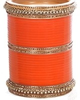 Orange Indian Wedding Chura & Champagne Crystal Bangles 2.6 UAOC11595 Indian Jewellery