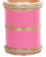 Baby Pink Indian Wedding Chura & Champagne Crystal Bangles 2.8 UAPC11603 Indian Jewellery