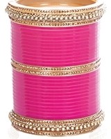 Fuchsia Pink Indian Wedding Chura & Champagne Crystal Bangles 2.6 UAPC11607 Indian Jewellery
