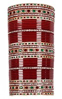 RIMI Maroon and Green Wedding Chura, 2-Hands, 2.6 UGAC03494 Indian Jewellery