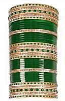 RIMI Bottle Green Wedding Chura, 2-Hands, 2.4 UGGC03498 Indian Jewellery