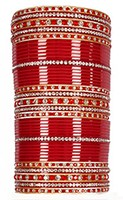 RIMI Bright Red Wedding Chura, 2-Hands, 2.10 UGRC03683 Indian Jewellery