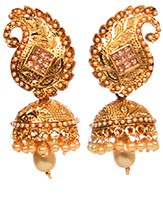 Golden LCT & Pearl Indian Jhumka Earrings EGNL10354 Indian Jewellery