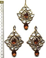 TRISHA Large Earrings and Tikka IGNK0549 Indian Jewellery