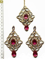 TRISHA Large Earrings and Tikka IGPK0550 Indian Jewellery
