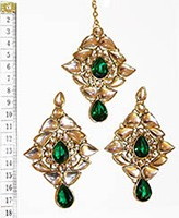 TRISHA Large Earrings and Tikka IGGK0553 Indian Jewellery