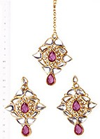 TRISHA Earrings and Tikka IGUK02644 Indian Jewellery