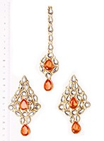 KUSHI Earrings and Tikka IGOK02645 Indian Jewellery