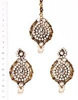 Ayeesha Earrings and Tikka IAWC02690 Indian Jewellery