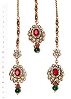 Rameeka Earrings and Tikka IAAK03741 Indian Jewellery