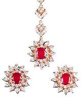 Fine American Diamond Tikka & Studs - Tiana IEWA10608C Indian Jewellery